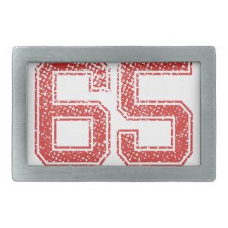 El rojo se divierte Jerzee número 65 Hebilla Cinturon Rectangular