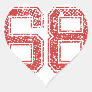 El rojo se divierte Jerzee número 68 Pegatina En Forma De Corazón
