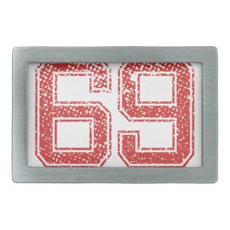 El rojo se divierte Jerzee número 69 Hebilla De Cinturón Rectangular