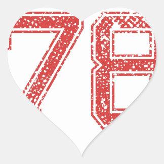 El rojo se divierte Jerzee número 78 Pegatina En Forma De Corazón
