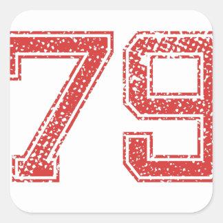 El rojo se divierte Jerzee número 79 Pegatina Cuadradas Personalizada