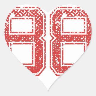 El rojo se divierte Jerzee número 88 Pegatina En Forma De Corazón