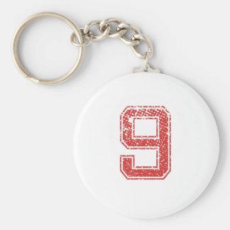 El rojo se divierte Jerzee número 9 Llavero Redondo Tipo Pin