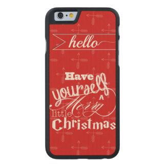El rojo tiene usted mismo del vintage Felices Funda De iPhone 6 Carved® De Arce