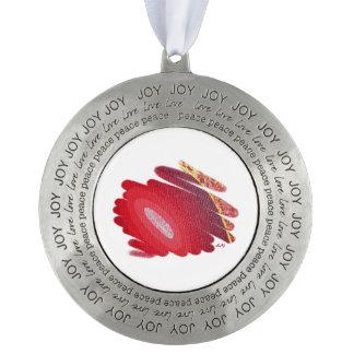 El rojo tuerce en espiral ornamento redondo del adorno de navidad redondo de peltre