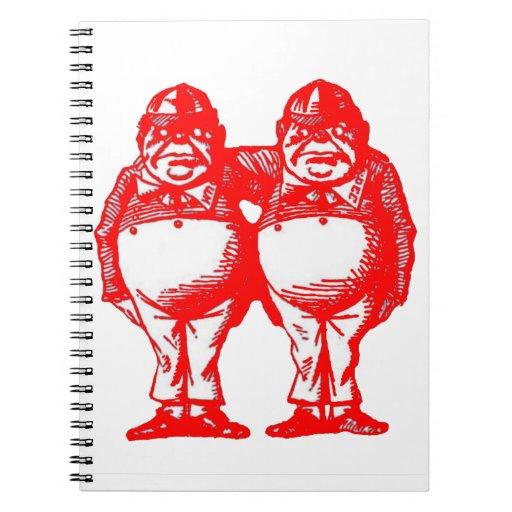 El rojo Tweedle Dee y Tweedle Dum Libros De Apuntes