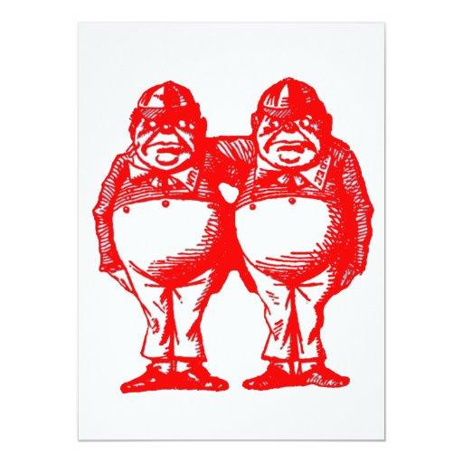 """El rojo Tweedle Dee y Tweedle Dum Invitación 5.5"""" X 7.5"""""""