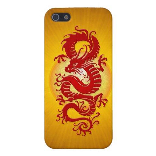 El rojo y el amarillo estallaron el dragón chino iPhone 5 cárcasa