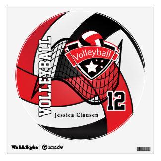 El rojo y el negro personalizan voleibol vinilo decorativo