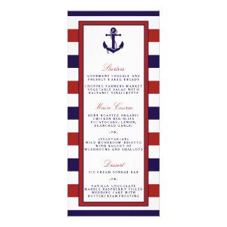 El rojo y la colección náutica del boda del ancla diseño de tarjeta publicitaria