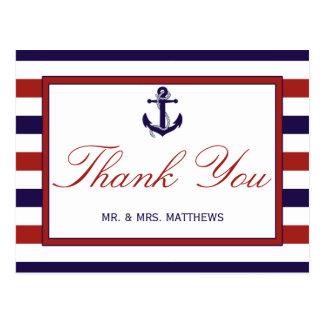 El rojo y la colección náutica del boda del ancla tarjeta postal