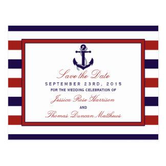El rojo y la colección náutica del boda del ancla tarjetas postales