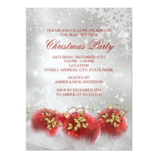El rojo y la fiesta de Navidad de las chucherías Invitación 16,5 X 22,2 Cm