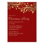 El rojo y la fiesta de Navidad del Flourish del ac Invitaciones Personalizada