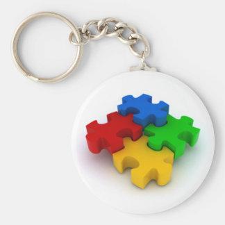 el rompecabezas 3D junta las piezas de llavero de