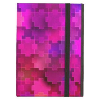 El rompecabezas cuadrado rosado y azul junta las