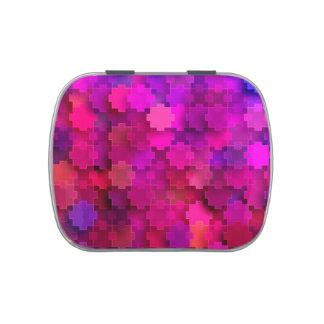 El rompecabezas cuadrado rosado y azul junta las jarrones de dulces