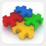 El rompecabezas de la conciencia 3D del autismo Calcomanía Cuadrada Personalizada