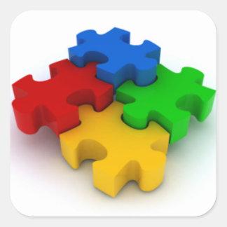 El rompecabezas de la conciencia 3D del autismo Pegatina Cuadrada