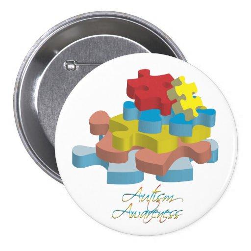 El rompecabezas de la conciencia del autismo junta pin redondo 7 cm