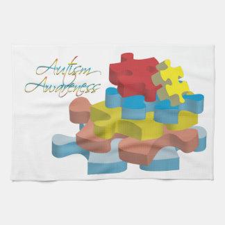 El rompecabezas de la conciencia del autismo junta toallas de cocina
