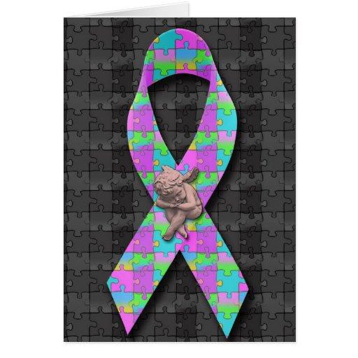El rompecabezas del ángel de Awarness del autismo Tarjeta De Felicitación