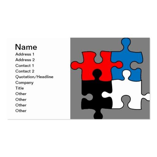 El rompecabezas junta las piezas de la tarjeta de  tarjetas de visita