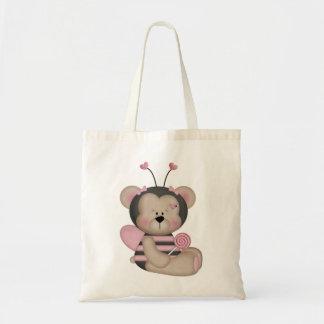 El rosa adorable manosea el oso de la abeja bolsa tela barata