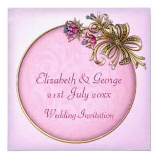 El rosa adornó la invitación del boda