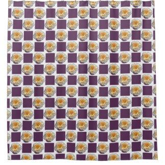 El rosa amarillo con púrpura ajusta la cortina de cortina de baño
