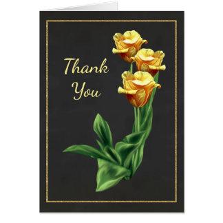 El rosa amarillo llamativo le agradece cardar tarjeta pequeña