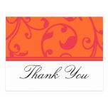 El rosa anaranjado del boda tropical le agradece l postal