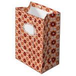 El rosa anaranjado teja el modelo oriental bolsa de regalo mediana