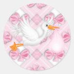 El rosa arquea a los pegatinas rosados de la fiest