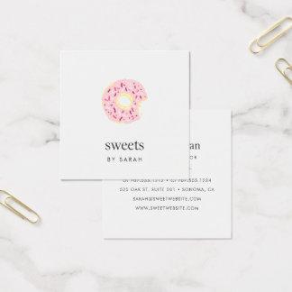 El rosa asperja el buñuelo tarjeta de visita cuadrada