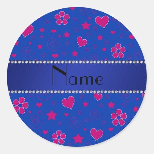 El rosa azul conocido personalizado florece las pegatina redonda