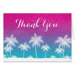 El rosa azul del trullo tropical le agradece tarjeta pequeña