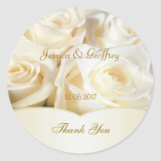 El rosa blanco elegante le agradece pegatina del