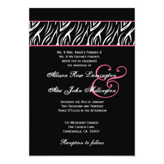 """El rosa blanco negro de la cebra acentúa casar invitación 5"""" x 7"""""""