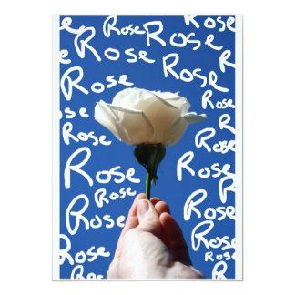 El rosa blanco, parte posterior del azul, subió invitacion personalizada
