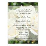 """El rosa blanco puro florece el boda cristiano invitación 5.5"""" x 7.5"""""""