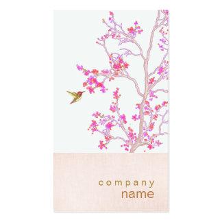El rosa bonito del colibrí florece la tarjeta de tarjetas de visita