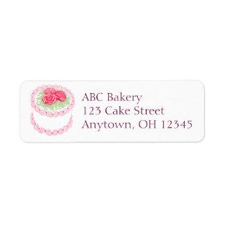 El rosa bonito heló la etiqueta de la torta etiqueta de remitente
