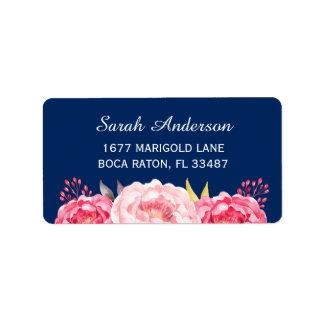 El rosa botánico de la acuarela florece azules etiquetas de dirección
