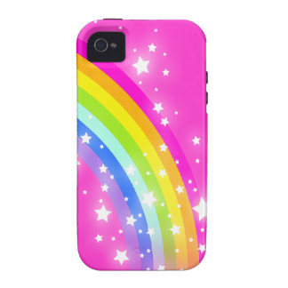 El rosa brillante del arco iris embroma el caso de iPhone 4 carcasas