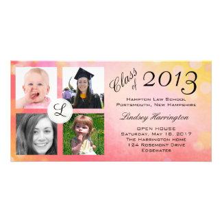 El rosa burbujea invitación de la graduación de la tarjetas fotograficas