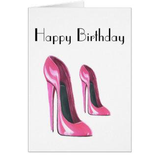 El rosa calza la tarjeta de cumpleaños