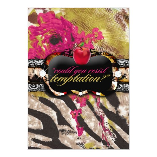 El rosa color de rosa de la cebra de 311 tigresas invitación 12,7 x 17,8 cm