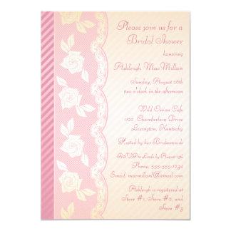 """El rosa color de rosa, ducha nupcial del cordón invitación 5"""" x 7"""""""
