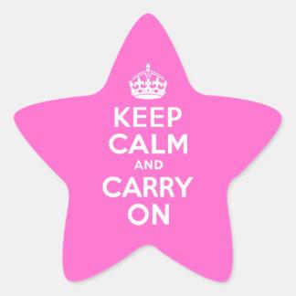El rosa color de rosa guarda calma y continúa calcomanía forma de estrella personalizadas